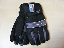 MENS LARGE / EXTRA LARGE BLACK + GREY WINTER SKI GLOVES WITH THERMAL INSULATION