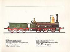 VINTAGE RAILWAY GERMAN TRAIN ENGINES PRINT ~ DONAU MAGDEBURG-LEIPZIGER EISENBAHN