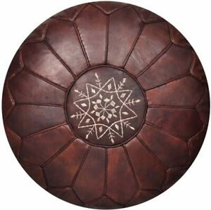 "Moroccan Leather Pouf Handmade Luxury Pouffe unique Dark Brown 12x20"" ottoman"