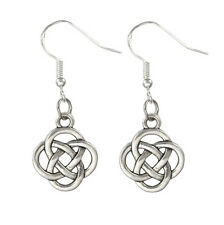 Vintage Silver Alloy St Patrick's Irish Celtic Knot Earrings 925 Sterling Hooks
