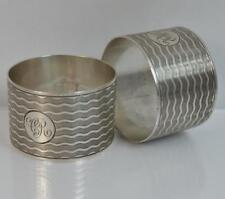 Heavy Pair of Chester Silver Engine Turned Pattern Napkin Rings
