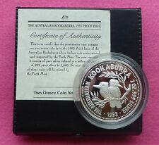 1993  KOOKABURRA TWO DOLLAR SILVER 2oz PROOF COIN BOX AND COA