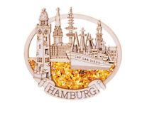 Kühlschrankmagnet - Hamburg Collage als Souvenir - echter Bernstein