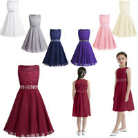 Flower Girls Lace Wedding Party Prom Dress Sleeveless Princess Bridesmaid Gown