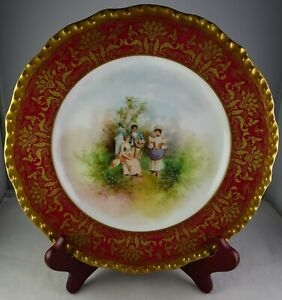 Pouyat Limoges Burgundy - Heavy Gold Cabinet Plate Musical Courting/Social Scene