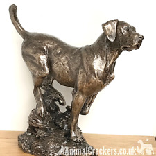 More details for large 22cm heavy cold cast bronze labrador ornament figurine by david geenty