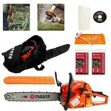 """58cc 20"""" Petrol Chainsaw 3.4HP + 2 X Chains + Oil Bottles + Carrying Bag +More"""