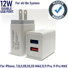 12W 2.4A Double USB Wall Charger Cube for iPhone 7,8,8 plus,X,XR,XS,11,11Pro[F9