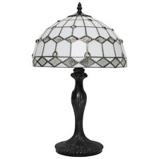 "Tiffany Glass Table Lamp with 12"" Shade Silver and White (Sarpu)"