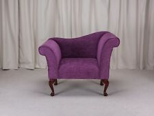 """37"""" Small Chaise Longue Lounge Seat Armchair Arm Chair Mink Fabric Queen Anne UK"""