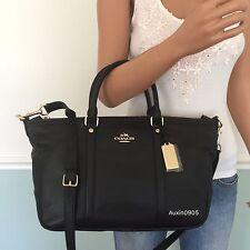 NEW! COACH Gorgeous Pebbled Leather Satchel Shoulder Crossbody Bag Purse Black