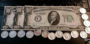Three U.S. 10-Dollar Federal Reserve Notes with 15 Mercury Dimes - Please Read