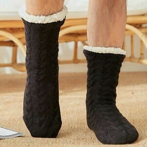 Solid Color Warm Plush Floor Socks Men Winter Indoor Bedroom Comfortable Shoes
