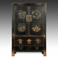 RARE ANTIQUE CHINESE QING DYNASTY SHANXI LACQUER GILDED PAINTED CABINET 18TH C