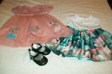 Baby girl M&S party bunny dress/Ted Baker lily pad dress/Koala shoes 3-6m