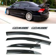 For 06 11 Honda Civic Jdm Si Window Rain Visor Mugen Style Emblems Sedan 4dr Fits 2006 Civic