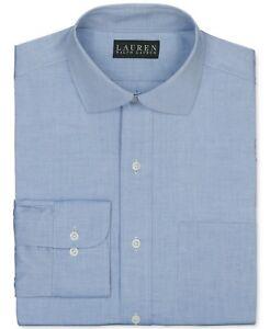 LAUREN BY RALPH LAUREN Pinpoint Solid Dress Shirt Blue 17 32/33 L Large
