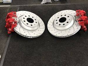 AUDI TTS S3 RS3 8V REAR  DRILLED GROOVED BRAKE DISC PAD ELECTRIC CALIPER RED OE