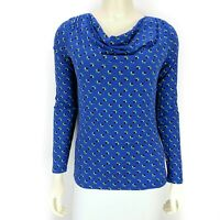 Boden Blue Long Sleeve Cowl Neck Polka Dot Print Blouse Top Shirt Women's Size 4