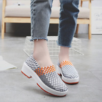 Summer Women Slip On Walking Shoes Woven Elastic Fabric Sandals Casual  shoes