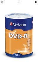 100 Spindle Verbatim 16x DVD Dvd-r 4.7gb 120 Minute Media Disc 96525