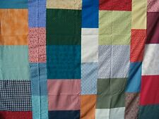 """Large Unfinished Quilt Top Squares Blocks & Strips Pattern 85"""" X 72"""" Cotton New"""