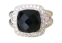 Designer Inspired Albion Ring with 11x11mm Natural Black Onyx Cushion  Size 7, 9