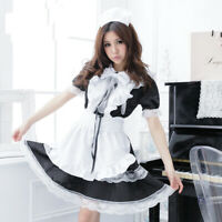 Women's Japanese Maid Uniform Lolita Dress Halloween Cosplay Costume Sexy Outfit