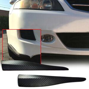 2 x Accessory Carbon Fiber Bumper Corner Lip Side Scratch Protector Strap Guard