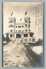 Amazing Wooden Castle House RPPC Antique New Hampshire Photo—Flags UDB 1906