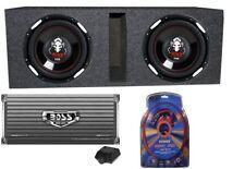 """2 BOSS AUDIO P106DVC 10"""" 4200 Watt Car Subwoofers+AR4000D+Amp Kit+Vented Sub Box"""
