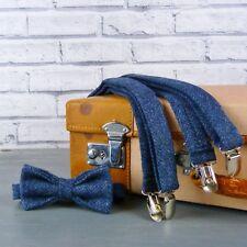Handmade Yorkshire Tweed Bow Tie and Braces - Navy Herringbone