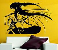 Samurai Geisha Japanese Katana Swords Anime Decorative Vinyl Wall Sticker Decal