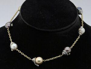 Stambolian 18K 2-tone gold 3.25CTW VS1/G diamond/12.8mm pearl chain necklace
