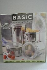 Basic Essentials 4 Piece Stainless Steel Canister Set