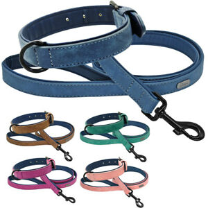 Soft Leather Dog Collar and Lead Set for Small Medium Large Dogs Brown Pink Blue