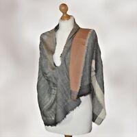 BNWT Luxury GREY FINE winter warm plain wool pashmina shawl scarf FREE GIFT