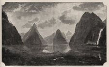 Another Bit of Milford Sound. The West Coast Sounds. New Zealand 1890 print