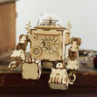 Robotime DIY Holzroboter Modellbausätze Mechanische Spieluhr mit LED Spielzeug