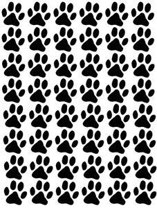 121 paw prints, cat dog, vinyl wall car sticker, self adhesive decal