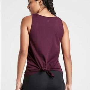 Athleta Foothill Tank Top Small Cabernet Red Seamless Laser Cut Open Back 211277