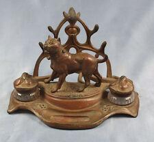 Mastiff bullterrier pit bull alte schreibtischgarnitur original um 1900 hund