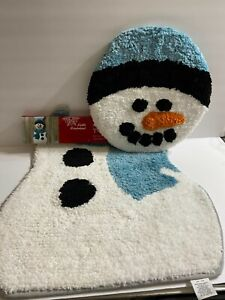 2 Piece Holiday Snowman Toilet Lid Cover and Mat Bath Rug Set Winter Wonderland