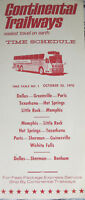 Continental Trailways Bus Vintage 1970 Time Schedule Pamphlet Booklet Advertise