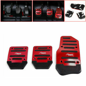 1 Set/3Pcs Universal Car Clutch Brake Foot Pedals Cover Treadle Non-Slip Red New
