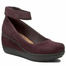 Clarks Ladies Platform Wedge Shoes WYNNMERE FOX Aubergine Suede UK 5.5 RRP £65