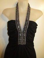 Sky Clothing Brand M Dress Halter Rhinestone Crystal Beaded Black Gray Party
