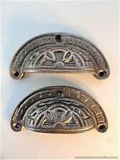 PAIR OF INCA DESIGN VICTORIAN STYLE CAST IRON CUP HANDLE DRAWER PULL HANDLE IR1