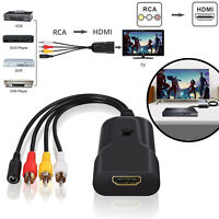 3RCA CVBS AV to HDMI Video Audio Converter Adapter 1080P For VHS VCR DVD Player