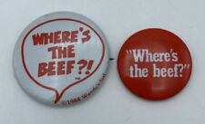 Vintage 1984 Wendy's Fast Food Restaurant Pins Pinbacks Where's The Beef?